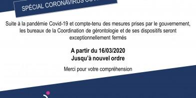 Information Covid-19 – Fermeture exceptionnelle