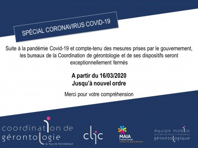 Information Covid-19 – Fermeture exceptionnelle