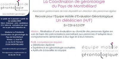 Diététicien en CDI à 30% (H/F)